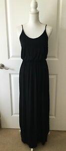 LUSH Long Maxi Dress~Spaghetti Strap~Fitted Waist~Soft Jersey~BLACK~Medium~EUC