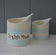 Light Blue Stripe Porcelain Handmade Milk/Cream Jug Set Of Two
