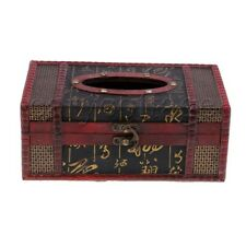Red Wood Tissue Paper Holder Complements Vintage Tissue Box Cover OD 22x12x9cm