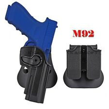 Hunting Right Hand Pistol Holster Paddle& Double Magazine Pouch For M92 HOT SALE