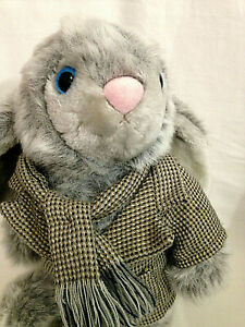 """Vintage North American Hares 12"""" GRAY BUNNY RABBIT In Coat and Scarf Plush Toy"""