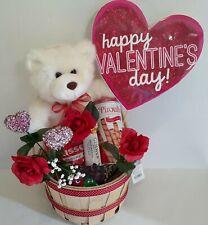 Valentine's Day Gift Basket Set 12 Inch Teddy Bear Plush Hershey Kisses,Piroulin