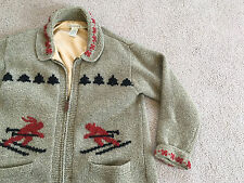 vtg EDDIE BAUER Legends Zip Front Cardigan Sweater Jacket PETITE Ski Skiing Wool