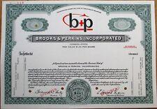 'Brooks & Perkins' Airplane Cargo- Cadillac, Michigan Specimen Stock Certificate