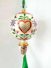 Christopher Radko Ornament Hearts And Flowers Drop Ball 1016393