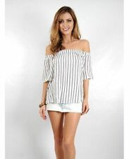 Polyester Short Sleeve Hand-wash Only Striped Tops & Blouses for Women