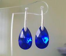 Crystal Drop Earrings Genuine Swarovski element  22mm Majestic Blue / silver