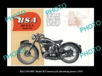 OLD LARGE HISTORIC PHOTO OF BSA MOTORCYCLE B31 MODEL ADVERTISING POSTER 1951