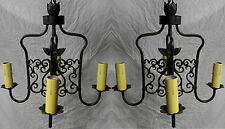 PAIR OF 1920S STYLE SPANISH REVIVAL WROUGHT IRON HANGING CHAIN 4 LAMP CHANDELIER