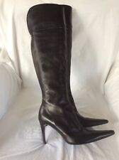 Ladies Moda In Pelle Black Leather Over The Knee High Heel Boots. SIZE 5