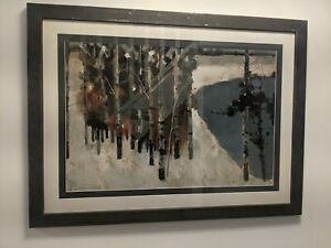 Forest Scene Abstract Print - Black Frame INCLUDED