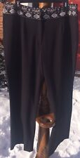 Style & Co. Collection Black Dress Pants Sz 16 W Wide Leg White Embroidery