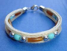 "Western Cowboy/Cowgirl Jewelry Woven Horsehair Bracelet Bone/Bead 7 3/4"""