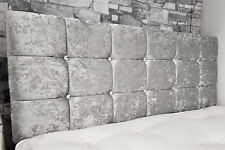 "4ft6 Double 21"" High Silver Grey Crushed Velvet Crystal Buttoned Headboard"