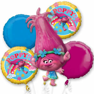 Trolls Poppy Foil Balloon Bouquet Kids Birthday Party Supplies Decoration ~ 5pc