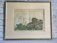 Japanese Signed Botanical Watercolor - FREE SHIPPING!!!