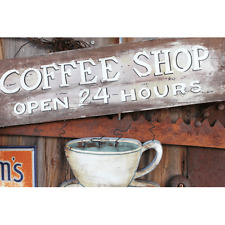 Coffee Stop Sign On Wood poster print decor 16x24 Open 24 Hours