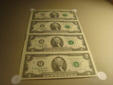 #4 Four Rare UNCUT 1995 CRISP Uncirculated USA. $2.00 TWO Dollar Notes-Currency