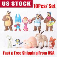 10 PCS Masha And The Bear Masha Bear Action Figures Toy Dolls Gift Cake Topper