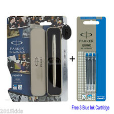 Parker Frontier Steel Chrome Trim CT Fountain Ink Pen + 3 Blue Ink Gel US seller