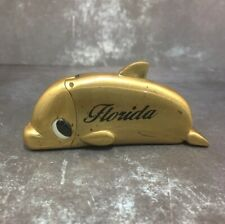 Vtg Dolphin Retro Cover Case Flip top Mini Bic cigarette Lighter Holder Florida