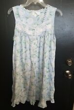 EILEEN WEST NIGHTGOWN knit  modal Cotton blue  white floral print size small