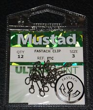 12 Pack Mustad Ultra Point Fastach Clip FTC-3 Swivel Snap Size 3