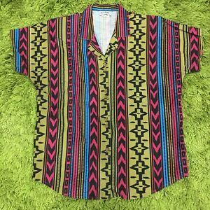 Katies Vintage Retro 80's Print Blouse Sz 12 Fun Fashion Made In Australia