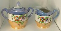 Sugar Bowl with Lid and Creamer Lusterware Hand Painted  Floral Japan No. 2748