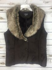 Tribal Brand Faux Fur Brown Vest With Shawl Collar Back Button Front Women's M