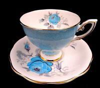 """ROYAL STANDARD BLUE HARLEQUIN ROSE & GOLD TRIM 2 7/8"""" CUP AND SAUCER SET"""