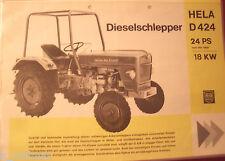 ✪Trecker Sales Brochures ORIGINAL PROSPEKT HELA Dieselschlepper D424  24 PS