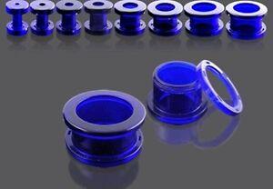 New UV Acrylic Ear Tunnel Dark Blue 3mm 4mm 5mm 6mm 8mm Ear Piercing UK Seller