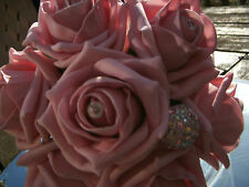 WEDDING FLOWERS BRIDE MAID BOUQUET B/H BABY PINK ROSE DIAMANTE PEARLS CRYSTALS