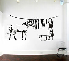 Banksy Zebra Stripes Laundry Washing Wall Art Sticker Decal
