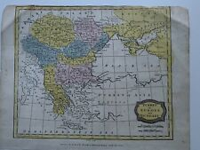 1806 TURKEY IN EUROPE BALKANS HAND COLOURED ORIGINAL ANTIQUE MAP 213 YEARS OLD