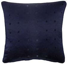 """JACQUARD CHECK NAVY BLUE 22"""" 55CM PIPED CUSHION COVER"""