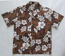 Vintage Evergreen Island Aloha Shirt Made in Hawaii Brown Floral Hibiscus M L