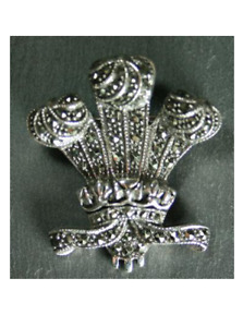 Marcasite Welsh Three Feathers Prince of Wales Brooch - Sterling Silver (Large)