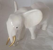 Afrika Elefant weiß aus Keramik - Handarbeit - Dekoration Deko Tisch Haus Garten