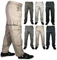 New Mens 3 in 1 Trouser 3/4 Shorts Elasticated Waist Cargo Combat Pant Bottoms