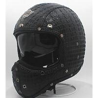 Vintage Full Face Motorcycle Helmet Sun Visor Deluxe Leather Cruiser Street Bike