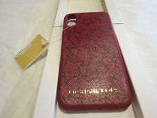 Michael Kors Iphone X Snap On Case Mulberry Plum Leather Stars $68 Authentic NWT