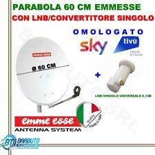 KIT PARABOLA 60 CM IN ACCIAIO EMMEESSE + LNB SINGOLO 0,1dB PER SKY-UNIVERSALE HD