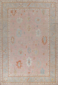 Vegetable Dye Floral Oushak Turkish Oriental Area Rug Hand-knotted Wool 10x14 ft