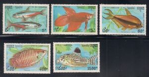 Cambodia   1991   Sc # 1197-1201   Fish   MNH   (1223)