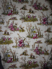 tissu textile coupon BOUSSAC style toile de jouy pascaline villon vintage