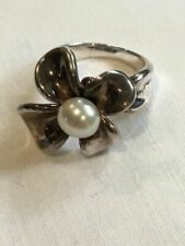 925 Sterling Silver Flower Ring Size 7