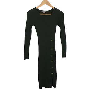 Primark Atmosphere Size 6-8 XS Green Ribbed Long Sleeve Midi Knit Pencil Dress