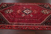 Vintage Geometric Tribal DEEP RED Lori Area Rug Wool Hand-Knotted Nomadic 5'x9'